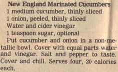 New England Marinated Cucumbers Recipe Clipping