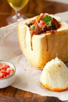 Bunny Chow ~ combination of shrimp and chicken with a very spicy curry, but you can make bunny chow with any curry recipe you wish