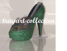PEACOCK Emerald Green High Heel Shoe TAPE DISPENSER Stiletto Platform - office supplies - trayart collection. $29.50, via Etsy.