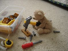 Use digital photos to make a story using your children's toys!