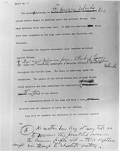 "(Page 2) Typed copy FDR's radio address: ""A Date that Will Live in Infamy"" Declaration of War against Japan, due to the bombing of Pearl Harbor, given Dec. 8, 1941. (Ties into BJU Chapter 22, p.584)"