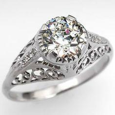 Antique Eco-Friendly Engagement Ring Old European Cut Diamond Platinum