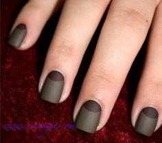 Half moon manicure in matte