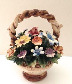 Vintage 8 inch Capodimonte flower basket by JanvierRoad on Etsy