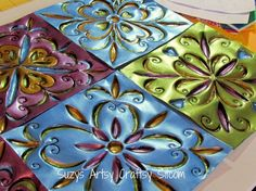 New Video on metal embossing for projects like Faux Tin Tiles made from disposable cookie sheets