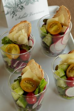 Enchanted Garden Salads. Really go green with mini individual salads, with parmesan cheese and toasted bread, for each baby shower guest. Delish!