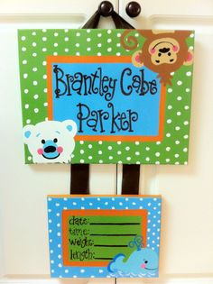 Jungle Safari-Custom Hospital Birth Announcement Door Hanger. $47.00, via Etsy.