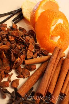 holiday simmering potpourri  — peels of clementines, tangerines or other thin skinned oranges  star anise  cinnamon sticks  whole cloves  vanilla bean from Stone Gable
