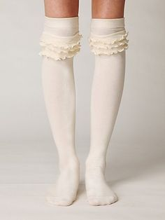 very cute!!...(Petticoat Tall Sock in Cream by Free People.