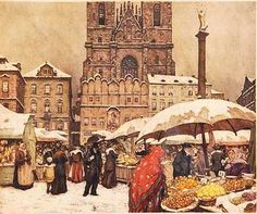 T.F.Simon ~ 'Christmas Market in Staromestske Namesti', 1923