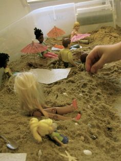 indoor sandbox:  beach!  from Creekside Learning