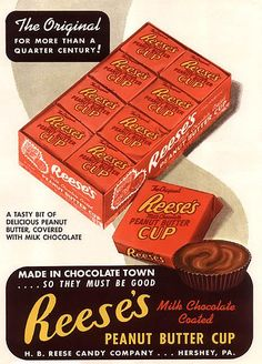 Reese's Ad, c. 1950s  #DoYouRemember #Nostalgia #Vintage #Reeses #Candy #Delicious #Food