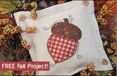 Download Free! Exclusive Fall Acorn Flange Pillow Sewing Pattern | FREE PATTERN CLUB | YouCanMakeThis.com