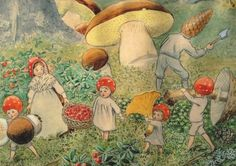 Children of the Forest by Elsa Beskow Forests, Fairies, Stories Book, Autumn, Illustration, Art, Elsa Beskow, Children Book, Mushrooms