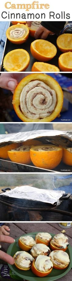 Campfire cinnamon rolls - perfect for a midnight feast or breakfast cinnamon roll recipes, idea, cinnamon rolls, family camping, food, outdoor, oranges, campfires, campfir cinnamon