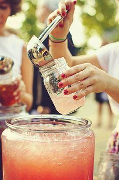 punch bowls, idea, masons, parties, weddings, pink lemonade, drink bar, mason jars, drinks