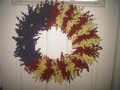 American Flag Wreath by KeepsakesbyKelly on Etsy, $50.00;   4th of July wreath
