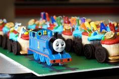 Thomas the Train Birthday Cupcakes.
