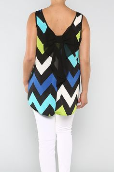 Chevron Print Bow Back Tank 1x, 2x, 3x. $39.00. Blondellamy'Dean is a boutique just for Curvy Girls. Sizes 10-36. Use coupon code: pin10 for 10% off your first purchase. Create an account to receive inventory emails and special offers!    #chevron #print #tank #1x #2x #3x #4x #5x #6x #american #european #curvy #clothes #plus #blondellamydean #fashion #style #stylish #cute #beauty #beautiful #pretty #girly #girl #girls #skirt #styles #outfit #shopping
