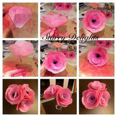 wafer paper cake tutorials, wafer flower tutorial, wafer paper flowers tutorial, wafer paper flower tutorial