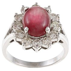 14k White Gold Ruby And 1 1/4ct Tdw Diamond Estate Ring (j-k, Vs1-vs2)