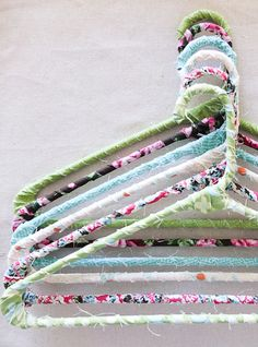 DIY Floral Fabric Hangers.