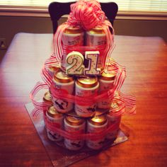 21st birthday beer can cake.. Why didn't I see this before any of my friends turned 21?