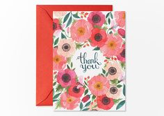 Floral Thank You card by oanabefort on Etsy, $4.30