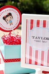 Taylor Turns Two - Ni Hao Kai Lan Birthday Party  Birthday - Ni Hao Kai Lan - Red & Aqua Birthday Party
