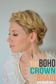 Boho Crown Braid Tutorial by Brooke White via www.littlemissmomma.com