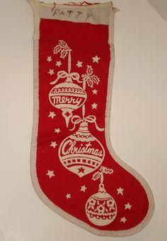 Vintage Old Antique Felt Christmas Stocking