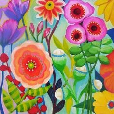 Anna Maria Horner colorful flowers, flower field, idea, anna maria horner, bright color, jungl, paint, beauti artwork, multicolor floral