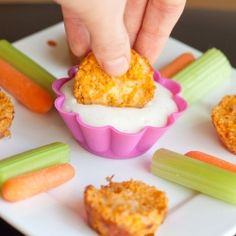Buffalo Chicken Quinoa Bites - an easy, cheesy, spicy, protein-packed snack.