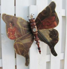 Table Leg Butterfly made from vintage print of lady, Victorian, Glass Beads and Vintage Spoon Antenna