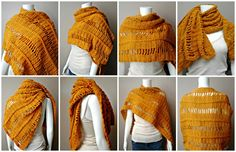 """Braided and Broken Wrap - Look at all the ways you can wear this wrap. If you are familiar with doing a """"Jacob's Ladder"""" in crochet, this will be quite simple to do. If not, try it, you may surprise yourself by how easy it is."""