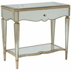 One-drawer mirrored nightstand.