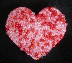 another one that i really like... valentine crafts, valentine day crafts, valentin craft, rock vbs, kingdom rock, bead heart, craft ideas, kid