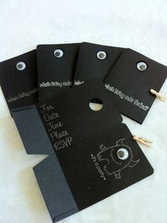 Black Monster party invitations