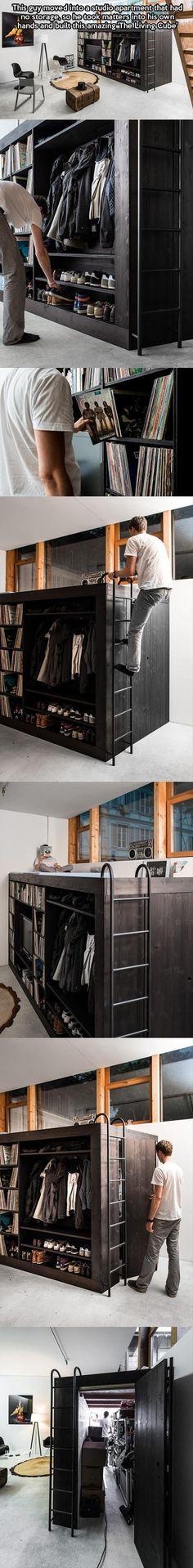 freestanding storage/bed/desk unit for renters. Simple Ideas That Are Borderline Genius – 20 Pics
