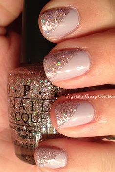 diagonal glitter... adds a lil glam to this neutral color #glitternails