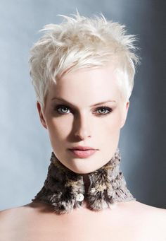 Pixie cut white hair (me)