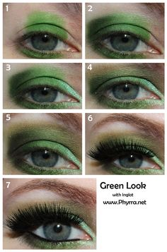 Inglot Green Eyeshadow Makeup Tutorial. I am really bad at doing my eyes but this made it really easy and now my eyes look BEAUTIFUL!!!!