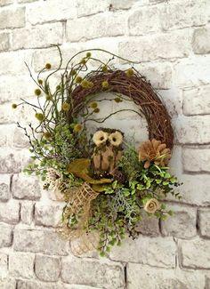 Owl Burlap Summer Wreath for Door, Front Door Wreath, Outdoor Wreath, Burlap Wreath, Spring Wreath, Grapevine Wreath,Silk Floral Wreath,Etsy