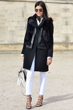 black coat + white skinnies