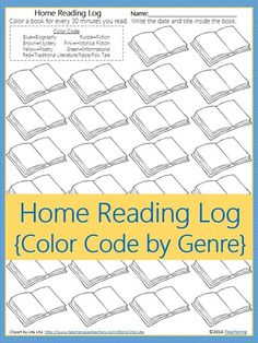 Simple home reading log to motivate students. Students color a book every time they read 30 minutes. This reading log has 30 books for the average 30 days per month and creates a visual of reading goal progress.