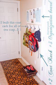 organization board, backpacks, hook, homework organization, school stuff, front doors, coat racks, kid stuff, entryway