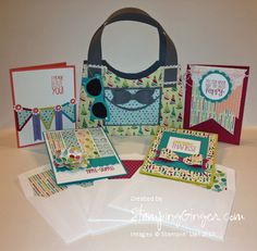 Created this adorable purse with coordinating cards from a template by Becky Roberts, Inking Idaho. The sunglasses are a template from Lorri Heiling, Confessions of a Stamping Addict. I added the envelope liners using the new Envelope Liner Framelit in the Stampin' Up!® Holiday catalog. So stinkin' cute!