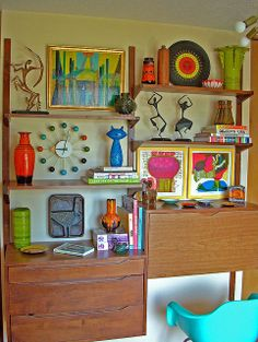 Sandi Vincent's Wall Unit - April 2013. I love her style. And her collection of midcentury modern!