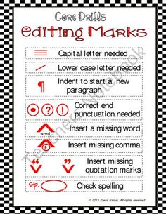 FREE >> Editing Marks Poster from How~2~Teacher on TeachersNotebook.com (1 page)  - FREE -- An Editing Marks page that can be used as a poster or insert in students' writing folders for reference.