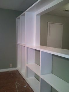 The shelves, finished, but empty.